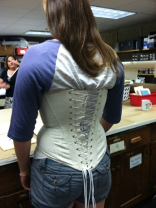 Visceral women's history lesson in the Zoellner costume shop - can she breath in a corset?