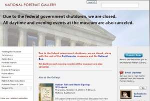 Screen shot of Smithsonian Portrait Gallery website