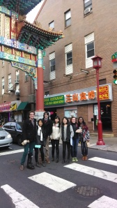 Our fifth and final attempt at a picture of the group in front of the China Town sign in the middle of the road with impossibly short red lights.