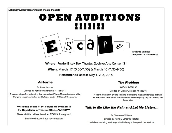 One-act daily announcement flier JPEG