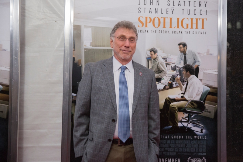 BROOKLINE, Mass. Oct. 28, 2015—Marty Baron, Boston Globe editor, who is played by Liev Schreiber in the movie Spotlight, walks the red carpet before a screening of the movie at the Coolidge Corner Theater Wednesday night.